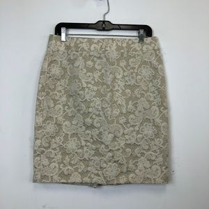 Banana Republic Ivory Lace Pencil Skirt
